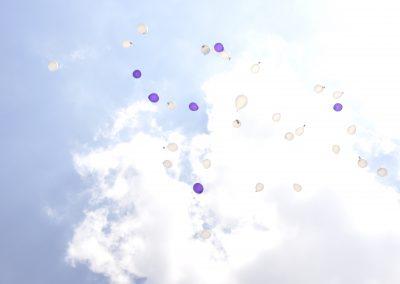 afscheid, lucht, ballonnen